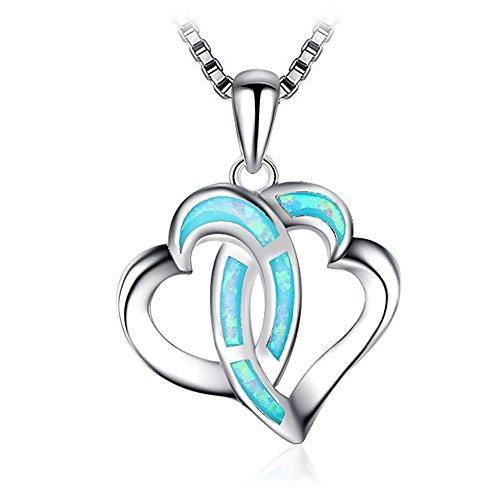 Collana con ciondolo per donna Regalo per le donne doppio cuore creato blu opale 925 argento Sterling catena donne gioielli 45 cm con 4.5 cm di estensione catena