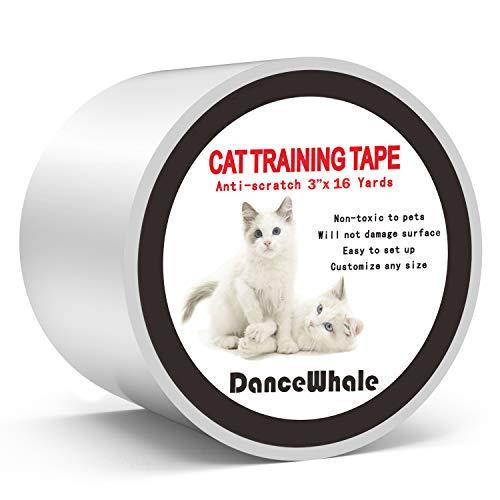 DanceWhale Cinta de Entrenamiento Anti Arañazos para Gatos, 7.5 CM x 14.7 M Cinta Disuasoria Transparente para Rascar Gatos, Protector de Muebles para Sofá, Alfombra, Puertas
