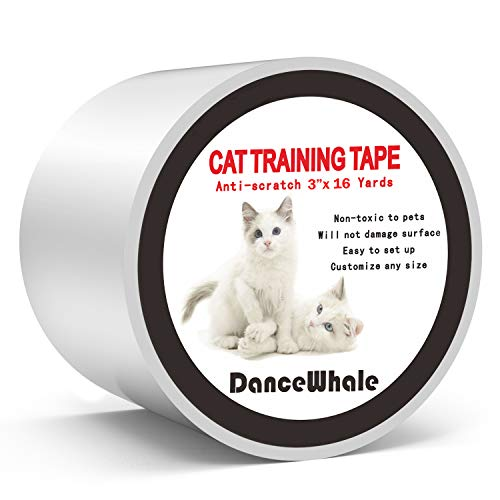 DanceWhale Anti Scratch Cat Training Tape, 3 Inches x 16 Yards Clear Double-Sided Cat Scratch Deterrent Tape - Furniture Protector for Couch, Carpet, Doors, Counter Tops