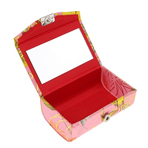 Baoblaze Etui à Rouge à Lèvres en PVC Brocart Brodé Support Miroir à l'Intérieur à Fermeture - #E