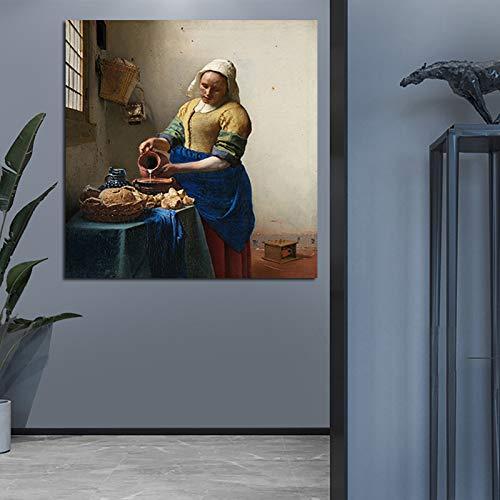 Melkmeid kunstenaar olieverf decoratie muur canvas schilderij foto grafische woonkamer decoratie 60x90cm