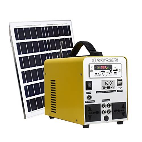 YYWER Central eléctrica portátil con Panel Solar, estación de Carga portátil Adecuada para Acampar al Aire Libre Yellow