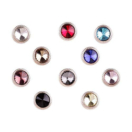 Joyci 10-Pack Women Shirt Brooch Buttons Lapel Pins Novelty Suit Vest Safety Buckle Metal Tie Tacks Pin Back Clutch (Diamond)