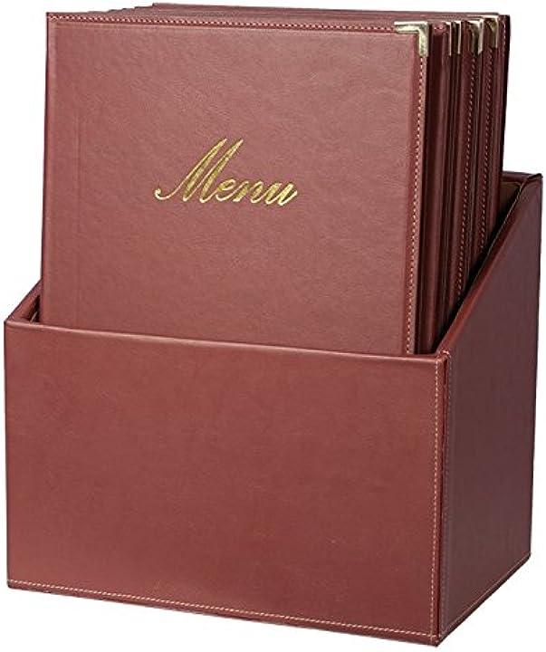 Securit box menu - 20 menu in formato a4 - rosso classic - con 1 inserto doppio - angoli protettivi in metallo MC-BOX-CRA4-WR