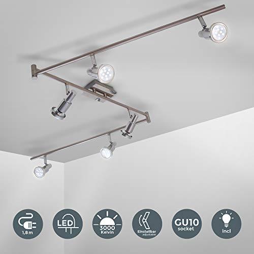 B.K.Licht | LED Deckenleuchte I XXL L: 1,8m I Deckenlampe mit 6 schwenkbaren LED-Spots I Metall I Strahler inkl. GU10 Leuchtmittel a 5W | 3.000K | IP20