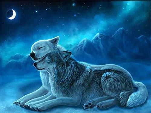 5D DIY diamante pintura Lobo nieve diamante bordado Animal mosaico redondo completo decoración del hogar costura A5 50x70cm