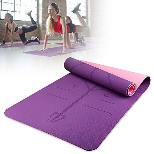 AODOOR Gymnastikmatte, Yogamatte, Premium Fitnessmatte mit einem Bindeseil und Einer Yogamattentasche | 183 x 60 x 0.6cm | Doppelte Schicht und Doppelte Farbe | mit Körperlinie