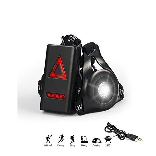Rechargeable USB de Course, lumière LED 3 modes réglable Running Outdoor poitrine sport Wearable Lampe de, sécurité et de signalisation pour jogging Alpinisme Camping