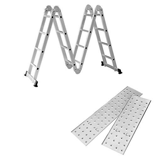 SAILUN 6 en 1 Escalera de Tijera 4.7M Escalera Multifunción Plegable Escalera Articulada con Plataforma 4x4 Escalera de aluminio Escalera combinada de alta calidad, Cargable hasta 150 kg