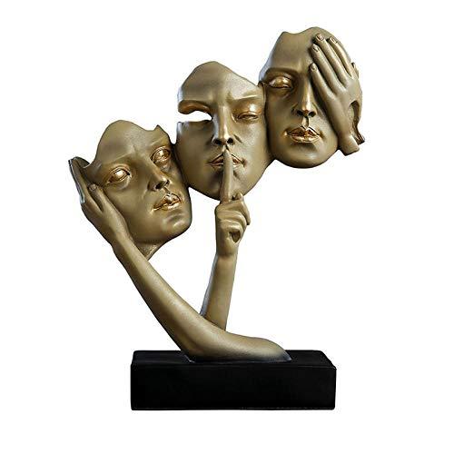 HJKIUY Conjuntos de mscaras de Pensador Estatua de decoracin del hogar Muebles de exhibicin de Sala de Estar Adornos de Resina Regalo de Negocios Decoracin de Entrada-A_26 * 11 * 34cm