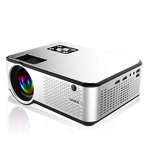 "YABER Portable Projector with 6000 Lux Upgrade Full HD 1080P 200"" Display Supported, LCD LED Home Projector Compatible with Smartphone/HDMI/VGA/AV/USB (White)"