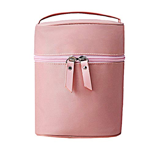 Travel Cosmetic Bagmultifunctional Barrel Shaped Toiletry Handbag Nylon Waterproof Wash Bag Large for Women and Girls Vacation Out-Going