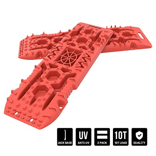 Ayleid Off-Road Recovery Traction Tracks Boards with Jack Lift Base, 2 Pcs Traction Mat for 4WD Sand Mud Snow Track Tire Ladder Traction Tool,Orange