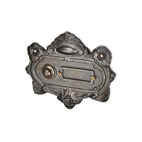 Antik Türklingel, A9111, aus Messing, dunkel patiniert, mit Klingelplatte und Klingeltaster - handgefertigt nach antiken Vorlagen