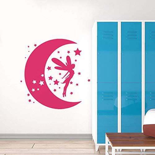 Fairy Girl Wandaufkleber Fairy Art Aufkleber an der Wand mit Mond und Sternen Kinder Kinderzimmer Dekoration Sweet Dreams Vinyl Wandplakat Home Decoration Wandaufkleber A4 36x42cm