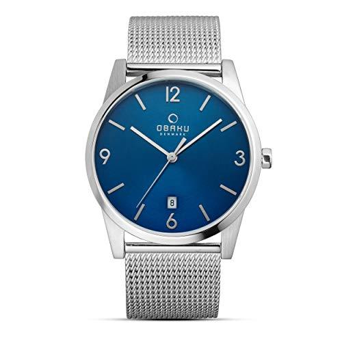 Obaku Denmark – Orologio da uomo di design con cassa in titanio e cinturino in acciaio inox – Colore: ciano – Moderno orologio da uomo creato secondo le tradizioni di design scandinavi.