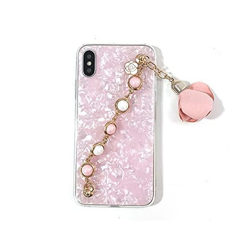 LIUYAWEI Cajas del teléfono con Colgante de Flor de Pulsera de Perlas para iPhone 12 11 X XS MAX XR 6 6s 7 8 Plus 7 8 Funda Conch Shell Contraportada, 1, para 12 Pro (6.1)
