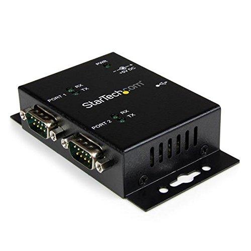 StarTech.com Concentrador Hub Industrial de 2 Puertos Serie Serial RS232 a USB Montaje Riel DIN Pared - Adaptador para cable (2 x DB-9, USB 2.0, Macho/hembra, Negro, 0-55 °C, -20-85 °C)