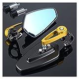 wuwu Espejo de Motocicleta Barra de Extremo Manillar Extremo Lateral retrovisor Espejo Apto para Yamaha R1 2015 YZF R125 Banshee Raptor 660 DT 125 TMAX 530 XJ6 (Color : Gold)