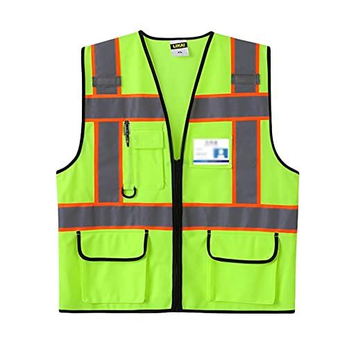 Chaleco Reflectante Protección de seguridad de la ropa reflexiva transpirable de punto en el sitio de construcción de la construcción Chaleco fluorescente para la construcción Ciclismo Noche Running c