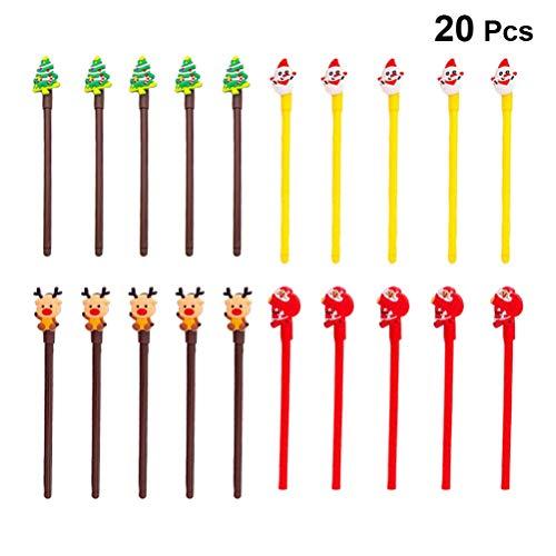 Toyvian, set di 20 penne a sfera con inchiostro gel (albero di Natale, Babbo Natale, elfo, pupazzo di neve, decorazione natalizia