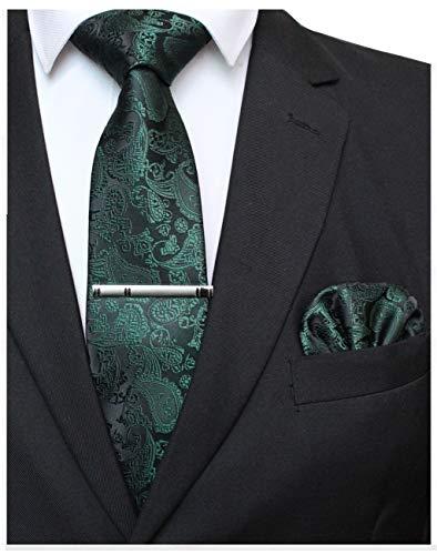 JEMYGINS Dunkelgrün krawatte Grün Seide Paisley Herren Krawatten und Einstecktuch mit krawattenklammer Sets (2)