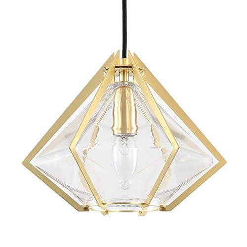 Ncloyn Diamant Glas Pendelleuchte, E14 Nordisch Kreativ Hängeleuchte, Hängelampe Mit Transparent Glas Lampenschirm, Kronleuchter Für Esszimmer Schlafzimmer Vitrine-Golden 24x22cm