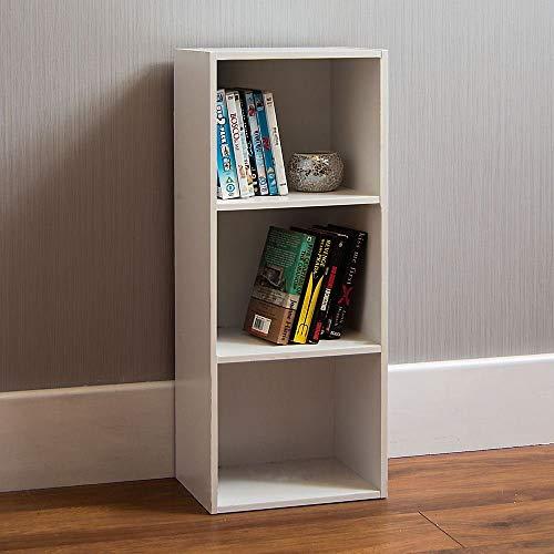Home Discount Oxford 3Ripiani in Legno Bianco cubo Libreria, mensola unità di stoccaggio di visualizzazione Ufficio Mobile da Salotto