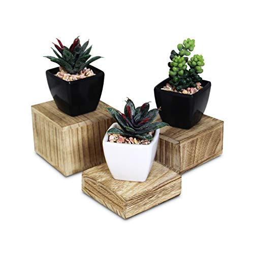 Mooca Wooden 3 Pcs Square Risers for Display Jewelry and Accessories Display Stand, Wooden Risers for Display, Wood Display Stand Wooden Display Risers, Oak