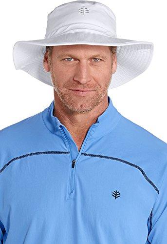 Coolibar UPF 50+ Men's Nate Chlorine Resistant Bucket Hat - Sun Protective (Large/X-Large- White)
