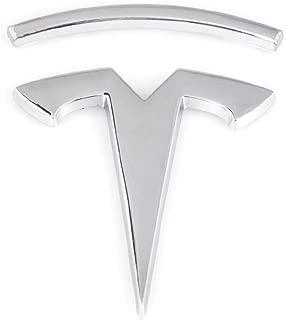 CARRUN 3D T Metal Emblem Car Side/Rear/Front Badge Decals for Tesla Model S Model X Model 3 Auto Accessories (Silver)