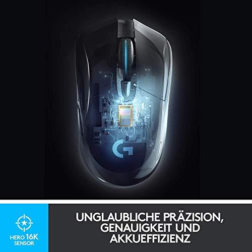 Logitech G703 LIGHTSPEED kabellose Gaming-Maus mit HERO 25K DPI Sensor, Wireless Verbindung, LIGHTSYNC RGB, POWERPLAY-kompatibel, geringes Gewicht von 95g, PC/Mac, Schwarz
