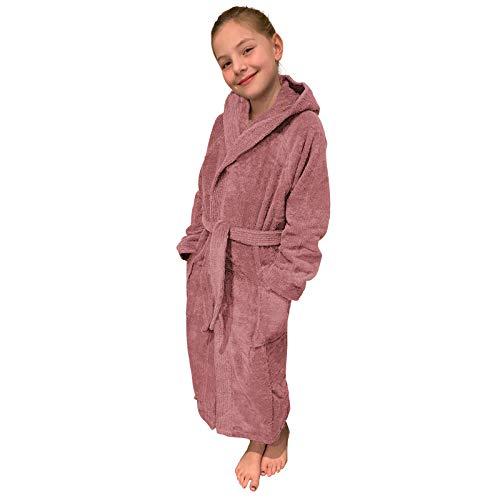 HOMELEVEL Kinder Frottee Bademantel aus 100% Baumwolle für Mädchen und Jungen (176, Altrosa)