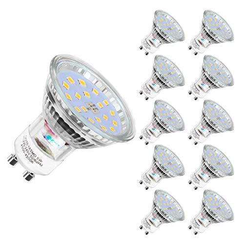 Bombilla LED GU10, luz blanca neutra, GU10, luz blanca neutra, 4500 K, 600 lúmenes, 5 W equivalente a 60 W, CA 220 - 240 V, ángulo de dispersión de 120 °, GU10, 10 unidades
