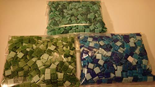 Happy-Mosaic Glas- Mosaiksteine Set Mini Mosaik: Blau Grün - 400g Blau Mix, 400g Grün Mix, 400g Türkis Mix