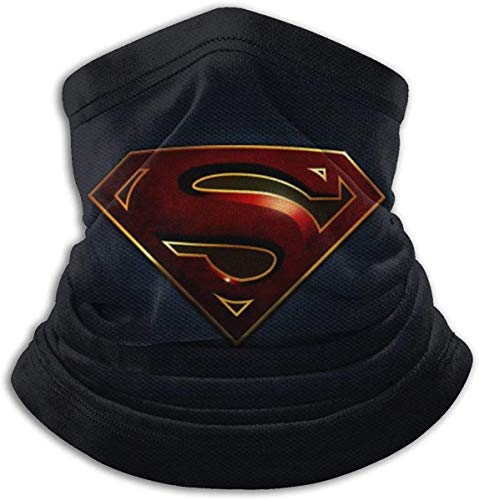 Superhero Warmer Neck Gaiter Windproof Mouth Unisex Adjustable Soft Face Mask Magic Scarf Bandana Balaclava-Superman Logo- Made in USA