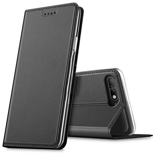 Verco Handyhülle für Y6 2018, Premium Handy Flip Cover für Huawei Y6 2018 Hülle [integr. Magnet] Book Hülle PU Leder Tasche, Schwarz