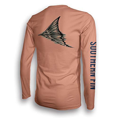 Southern Fin Apparel Angelbekleidung Fishing Shirt Herren Damen Fischerhemd UPF UV Langarm Hemd - (X-Small, Redfish Tail)