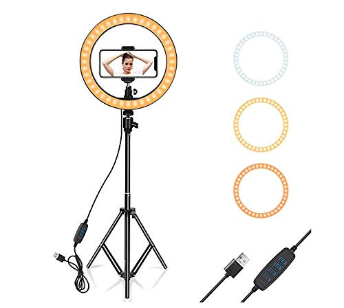 Ring Light 10' with Tripod Stand & Phone Holder for YouTube Video, Desktop Camera Led Ring Light for Streaming, Makeup, Selfie Photography Compatible with iPhone Android