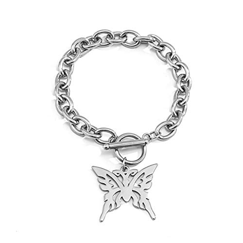 N/A Bracelet jewelry Butterfly Initial Ankle Bracelet for Women Stainless Steel Bracelet Link Chains with Toggle Clasp Anklet Jewelry Valentine's Day present
