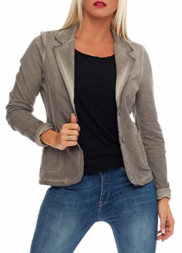 Malito Damen Blazer im Washed Style | Sakko im Basic Look | Kurzjacke mit Knöpfen | Jacke - Jackett - Blouson 1652 (Fango, L)