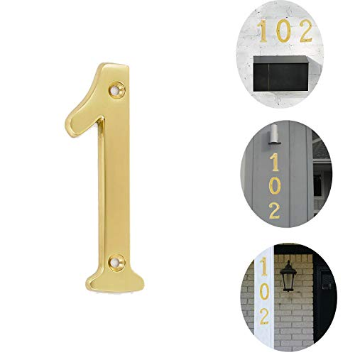 Bebarley 3 Inch Premium Bright Solid Brass Door House Numbers and Street Address Plaques Numbers for Residence and Mailbox Signs.(Number 1)