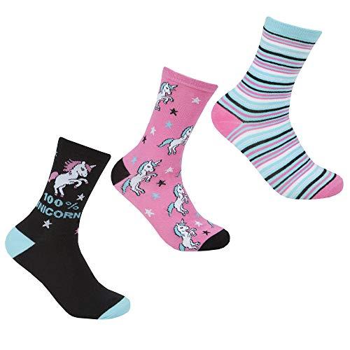 COTTONIQUE Damen 3pk Baumwolle reich Socken (Einhörner)