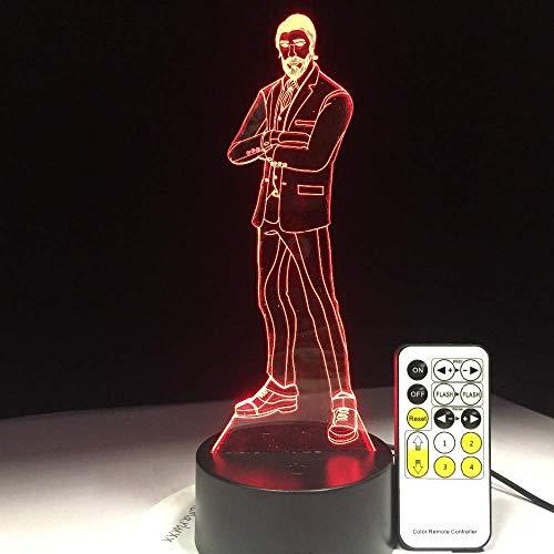 Hero - Lámpara de ilusión 3D para niños, niñas, regalo, luz de noche 3D para dormitorio al lado de la mesa, lámpara de estado de ánimo de 16 colores cambiantes, lámpara de mesa de escritorio, reg