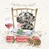 Artistic Male/Female Open Christmas Card from Wrendale Designs - is This My Seat? - Dog at Dinner Table - Sophisticated Gold Foil Finish - Christmas Card for Any Recipient (WRE-X074)