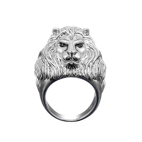 Dainty Fashion Personalized Creative Plating Ring Set,Unique Domineering lion Ring men Rings (Silver, 12 Number)