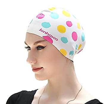 Jonhasoo Silicone Swim Cap for Women Extra Large Long Hair Swimming Caps