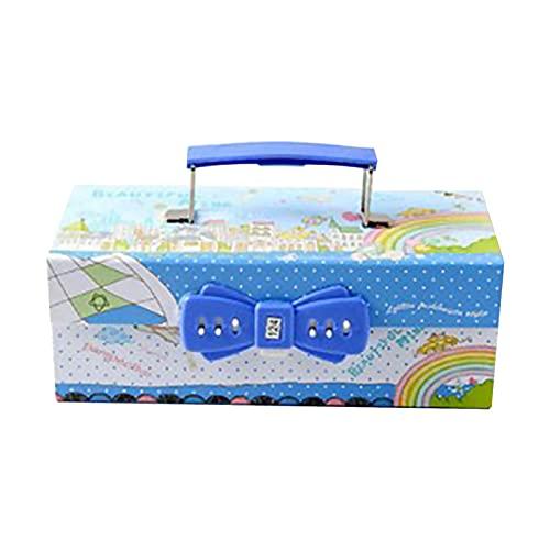 Montloxs Estuche de lápices de mano multifuncional Caja de lápices con bloqueo de contraseña de tres capas Caja de papelería de gran capacidad para niños y niñas