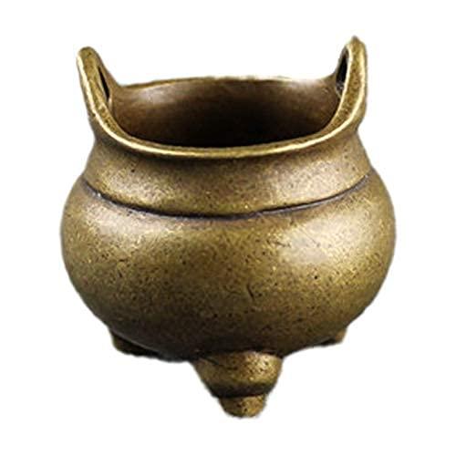 JONJUMP Quemador de incienso de latón de Buda chino, 3 patas de cobre puro, soporte de incensos hecho a mano Incensario budista decoración del hogar de la oficina