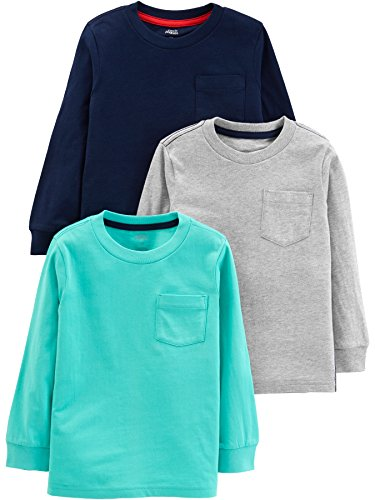 Simple Joys by Carter's Boys' Toddler 3-Pack Solid Pocket Long-Sleeve Tee Shirts, Gray/Blue/Navy, 2T